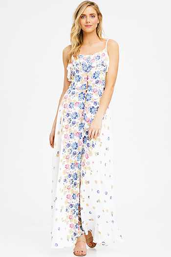 $20 - Cute cheap ivory white blue multicolor floral print sleeveless ruffle tiered cut out back boho maxi sun dress