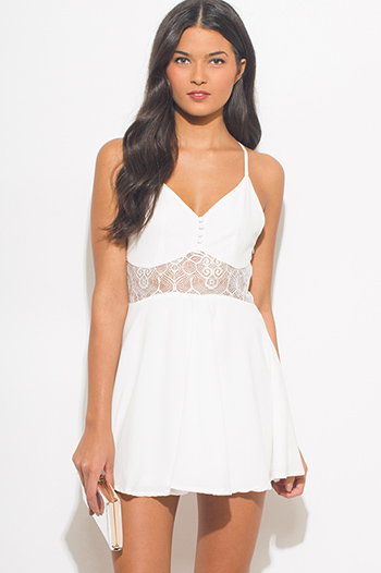 $15 - Cute cheap white crepe bejeweled cut out a line pleated cocktail sexy party shift mini dress - ivory white bustier cut out racer back a line skater boho mini sun dress