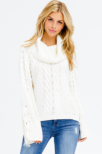 $25 - Cute cheap long sleeve crop top - ivory white cable knit long dolman bell sleeve cowl turtleneck boho sweater top