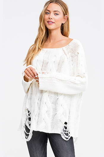 $20 - Cute cheap black ribbed knit long dolman sleeve surplice faux wrap belted sweater mini dress - Ivory white cable knit long sleeve destroyed distressed fringe boho sweater top