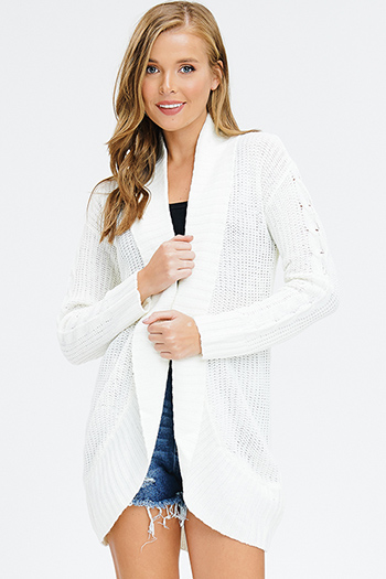 $20 - Cute cheap open back wrap jumpsuit - ivory white cable knit long sleeve open front sweater knit boho shawl cardigan