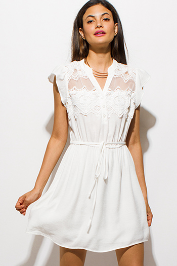 $20 - Cute cheap crepe slit sun dress - ivory white cap sleeve see through mesh crochet lace panel tie waist boho mini sun dress