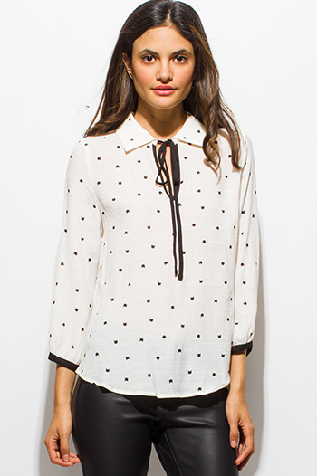 $20 - Cute cheap print boho blazer - ivory white cat print keyhole bow tie quarter sleeve boho blouse top