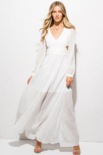 $30 - Cute cheap white lace slit dress - ivory white chiffon blouson long sleeve v neck cut out formal evening sexy party boho maxi dress