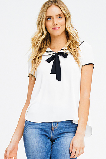 $15 - Cute cheap fitted top - ivory white chiffon color block peter pan collar tie neck boho sailor blouse top