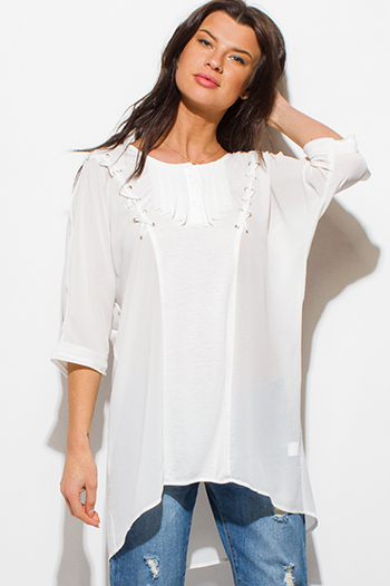 $15 - Cute cheap white chiffon shirred smocked flutter bell sleeve boho crop blouse top - ivory white chiffon contrast laceup half dolman sleeve high low hem boho resort tunic blouse top