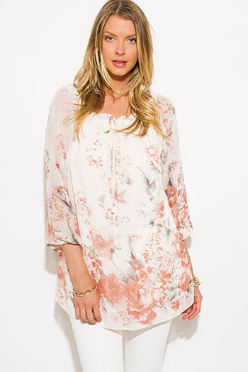 $15 - Cute cheap crepe top - ivory white chiffon floral print quarter blouson sleeve boho blouse tunic top