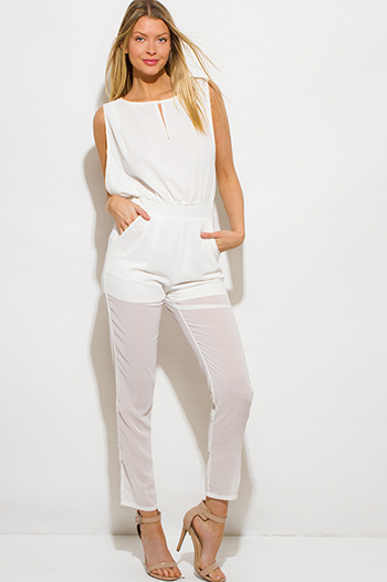 $20 - Cute cheap ivory white chiffon tiered crochet trim spaghetti strap open back boho romper jumpsuit - ivory white chiffon golden chain embellished pocketed sexy clubbing jumpsuit