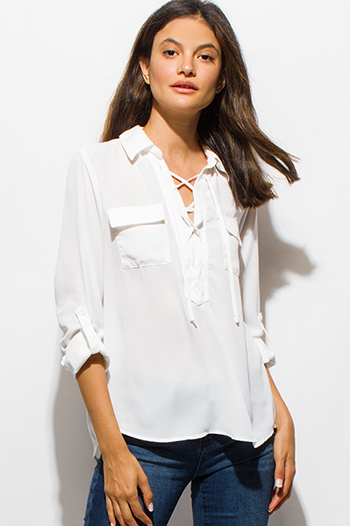 $15 - Cute cheap white v neck semi sheer chiffon crochet cut out blouson long sleeve boho blouse top - ivory white chiffon laceup quarter sleeve boho blouse top