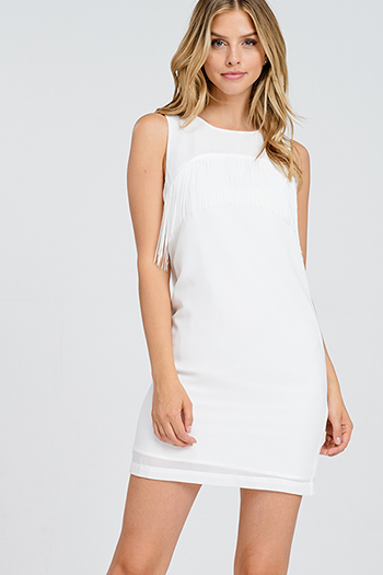$15 - Cute cheap black ribbed knit off shoulder long sleeve distressed bodycon sexy club mini dress - Ivory white chiffon sleeveless fringe trim cocktail party zip up shift mini dress