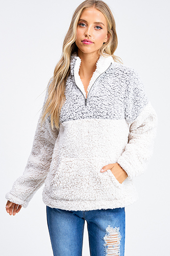 $30 - Cute cheap white asymmetrical hem quarter sleeve zip up fitted blazer jacket top - Ivory white color block sherpa fleece quarter zip pocketed pullover jacket top