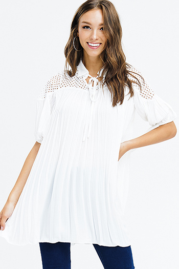 $15 - Cute cheap ivory white cap sleeve see through mesh crochet lace panel tie waisted boho mini sun dress - ivory white pleated short bubble sleeve crochet panel shift tunic top mini dress