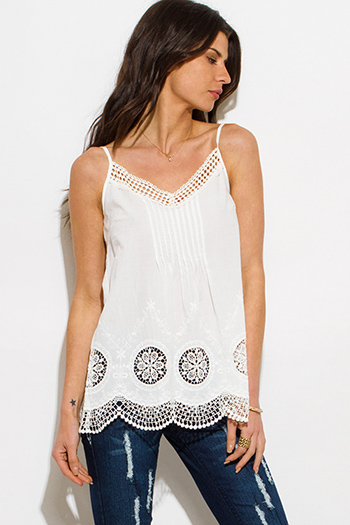 $15 - Cute cheap white sheer crochet blouse - ivory white cotton crochet embroidered scallop hem boho tank top