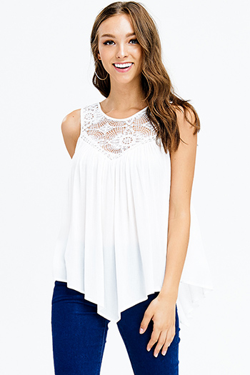 $15 - Cute cheap black tiered layered sleeveless pleated contrast blouse tank top - ivory white cotton crochet lace asymmetric hem sleeveless sexy party boho top