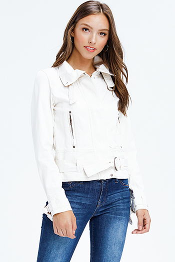$20 - Cute cheap blue washed denim mid rise distressed frayed ripped skinny fit jeans - ivory white cotton denim long sleeve zip up biker moto jacket