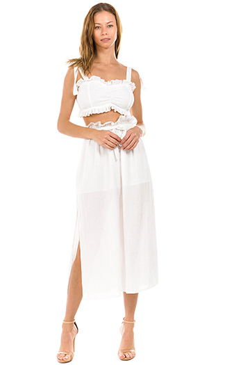 $40 - Cute cheap ivory white cotton linen boho resort smocked bralette crop top tie waist sheer maxi skirt set