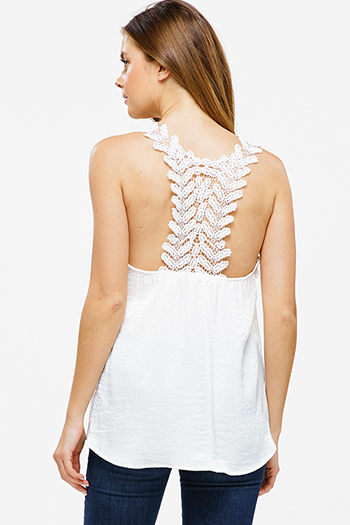 $15 - Cute cheap asymmetrical fringe tank top - Ivory white crinkle satin crochet lace racerback boho sexy party tank top