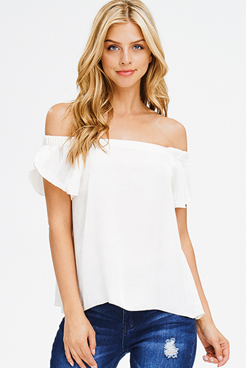 $15 - Cute cheap open back fitted sexy party catsuit - ivory white crinkle satin off shoulder short sleeve boho party blouse top