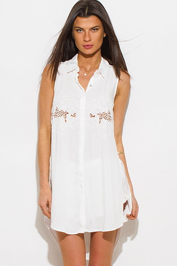 $15 - Cute cheap white denim floral embroidered mid rise cutoff boho jean shorts - ivory white crochet embroidered sleeveless side slit boho tunic blouse top