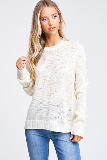 $20 - Cute cheap charcoal gray acid washed knit long sleeve laceup front sweater top - Ivory white crochet knit crew neck long sleeve boho sweater top