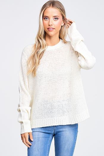 $20 - Cute cheap print chiffon boho top - Ivory white crochet knit crew neck long sleeve boho sweater top