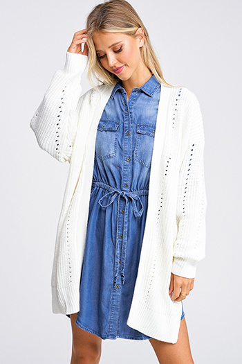 $30 - Cute cheap blue pocketed boho jumpsuit - Ivory white crochet knit cuffed long sleeve open front pocketed boho long sweater cardigan