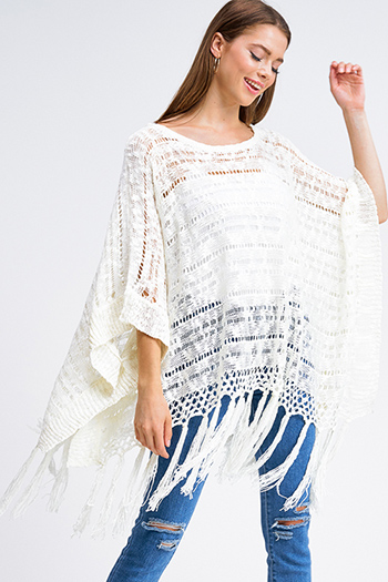 $15 - Cute cheap dark blue washed denim high waisted frayed hem tiered boho jean mini skirt - Ivory white crochet knit tassel fringe hem boho poncho jacket top