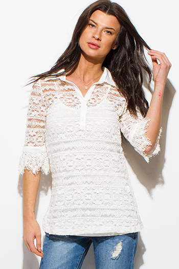 $15 - Cute cheap white stripe cotton quarter slit bell sleeve necklace blouse top - ivory white crochet lace half sleeve button up boho blouse top