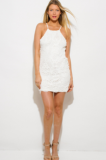 $15 - Cute cheap open back evening sun dress - ivory white crochet lace halter racer back bodycon fitted pencil shift mini dress