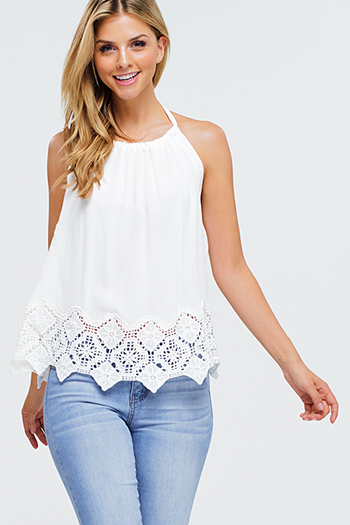 $15 - Cute cheap blue sexy party top - Ivory white crochet lace hem halter backless boho party summer tank top