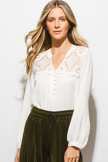 $15 - Cute cheap white beach cover up - ivory white crochet lace panel long blouson sleeve button up boho blouse top
