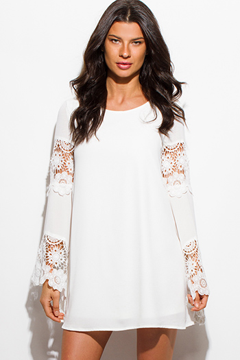 $15 - Cute cheap ribbed open back mini dress - ivory white crochet lace trim bell sleeve cocktail sexy party boho shift mini dress