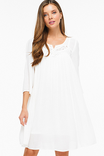 $15 - Cute cheap bejeweled open back dress - Ivory white crochet lace trim quarter sleeve boho beach cover up resort peasant mini dress