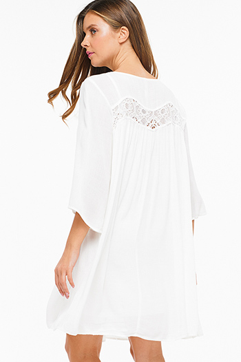 $15 - Cute cheap ivory white lemon print faux wrap ruffle trim laceup cut out back boho skater mini sun dress - Ivory white crochet lace trim quarter sleeve boho beach cover up resort peasant mini dress