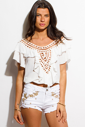$15 - Cute cheap white shorts - ivory white crochet trim ruffled short flutter sleeve boho top