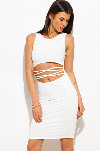 $15 - Cute cheap white ruched dress - ivory white cut out criss cross caged front sexy clubbing midi dress