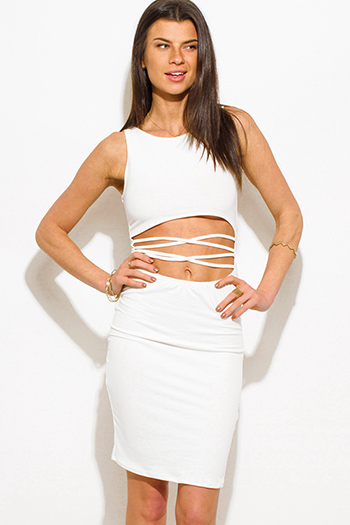 $12 - Cute cheap black crochet lace contrast strapless bodycon fitted sexy clubbing mini dress - ivory white cut out criss cross caged front clubbing midi dress
