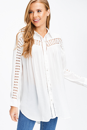 $15 - Cute cheap charcoal and navy plaid long sleeve belted button up tunic top boho mini shirt dress - Ivory white cut out crochet long sleeve button up boho blouse tunic top