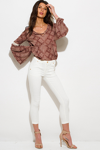 $15 - Cute cheap white python snake animal print faux leather pocketed shorts - ivory white denim mid rise basic pocketed cropped capri skinny fit jeans