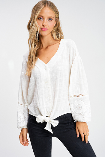 $20 - Cute cheap Ivory white embroidered crochet trim button up tie front boho peasant blouse top
