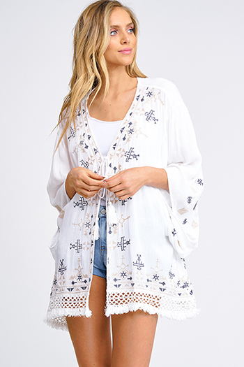 $20 - Cute cheap olive green stripe long sleeve round neck tie front boho top - Ivory white embroidered fringe crochet lace hem tie front boho beach cover up kimono top