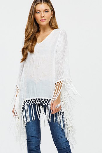 $15 - Cute cheap wine burgundy red plaid print long sleeve frayed hem button up blouse tunic top - Ivory white embroidered knit contrast long sleeve tassel fringe trim boho poncho top