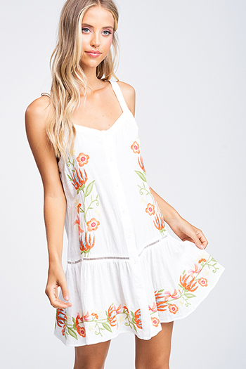 $15 - Cute cheap print boho mini dress - Ivory white embroidered sleeveless button up tiered ruffle hem boho swing mini sun dress