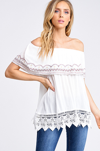$20 - Cute cheap yellow black floral print sheer mesh off shoulder long trumpet bell sleeve crop top - Ivory white embroidered tiered off shoulder crochet lace scallop hem boho peasant top