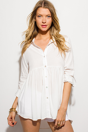 $15 - Cute cheap pinstripe bubble sleeve blouse top - ivory white empire waist quarter sleeve button up boho blouse top