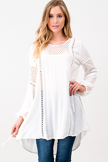 $20 - Cute cheap ivory white crochet lace panel long blouson sleeve button up boho blouse top - Ivory white eyelet crochet long tie sleeve resort boho beach cover up tunic top