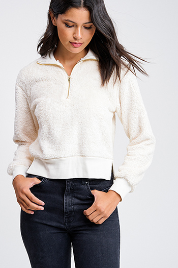 $20 - Cute cheap white asymmetrical hem quarter sleeve zip up fitted blazer jacket top - Ivory white faux fur fleece long sleeve cropped pullover quarter zip jacket top