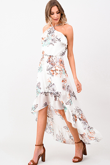 $30 - Cute cheap print caged mini dress - Ivory white floral print chiffon halter ruffled high low evening boho maxi sun dress