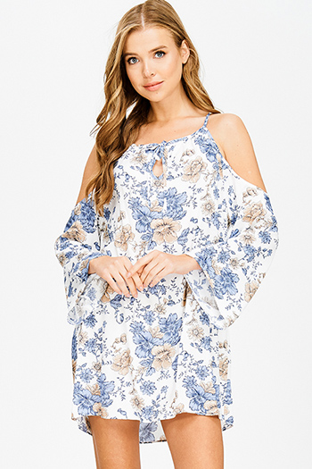 $15 - Cute cheap fitted cocktail mini dress - ivory white floral print halter cold shoulder long bell sleeve boho shift mini sun dress