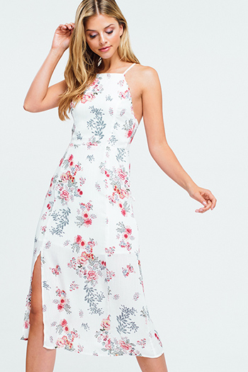 $25 - Cute cheap ribbed slit dress - Ivory white floral print halter criss cross backless slit boho sexy party midi sun dress